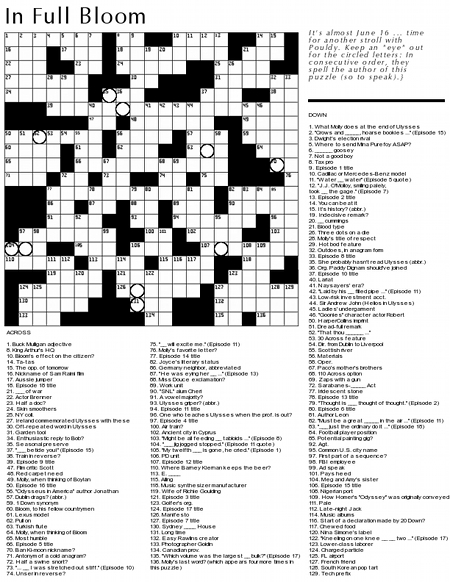 graphic regarding Merl Reagle Printable Crossword Puzzles called Crossword Puzzle: James Joyces Ulysses The Terrible Penny (beta)