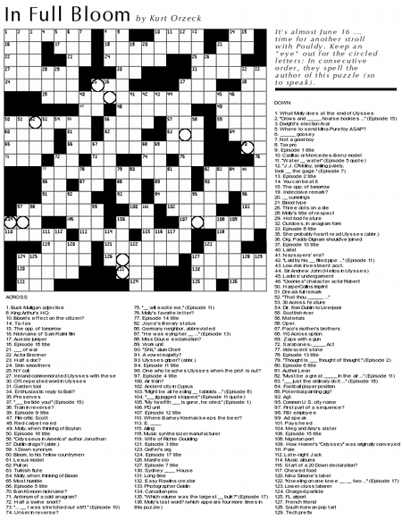 Crossword Puzzle James Joyces Ulysses